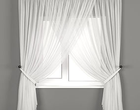 Tulle curtains with catch 3D model