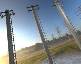 Iron Power Pole with ladder - Objekt 3D model