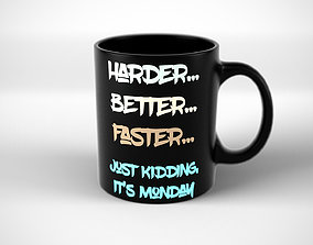 Coffee Tea Mug with funny inscription 3D asset
