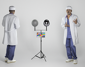 3D asset Confused african american male doctor 251