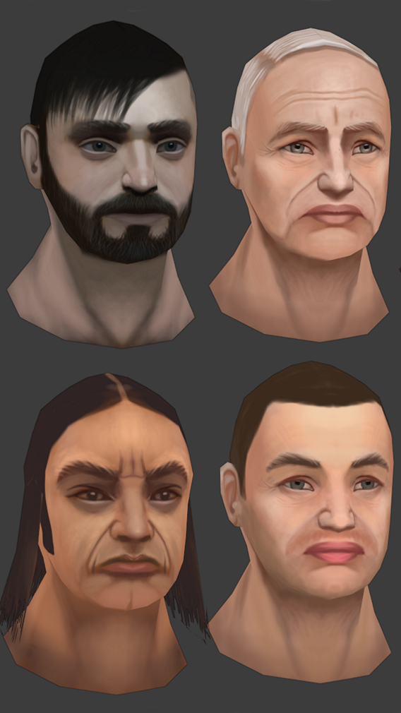 Hand Painting Lowpoly  Male Heads