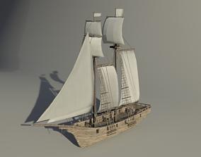 Topsail schooner ship roblox 3D asset VR / AR ready
