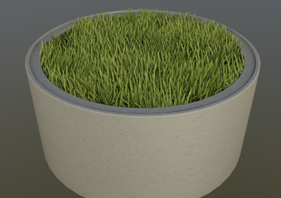 Concrete Pipe Pots with Grass 1500mm
