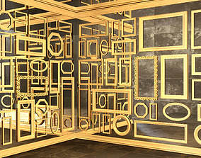 3D model mirror wall with gold frames