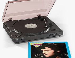 Sony PS-LX300USB turntable with Vinyl Record 3D asset