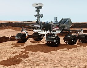 lunar PBR Mars rover and planet surface 3D model
