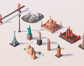 Polygonia Cartoon World Landmarks Pack 3D model