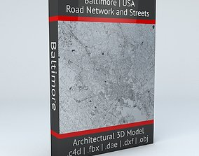 3D model Baltimore Road Network and Streets