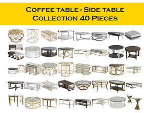 Coffee table - Side table Collection 40 Pieces 3D