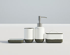 Bathroom Set White and Cement 3D