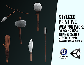 Stylized Primitive Weapons pack 3D asset