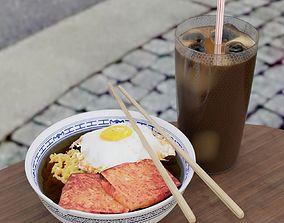 Typical Hong Kong style breakfast 3D model