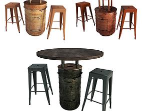 Rust Barrels Tables and Tolix Bar Stools 3D model