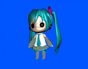 3D printable model cute girl cartoon statue