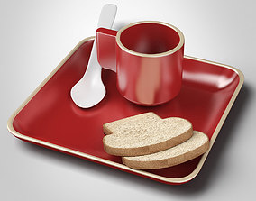 3D Ceramic Cup and Plate and Bread Slices