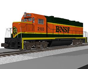 BNSF Train Engine - EMD GP38 Locomotive 3D