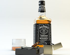 Jack Daniels and Zippo cigar 3D model