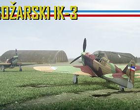 3D asset IK-3 Rogozarski 1940s Yugoslavian Fighter