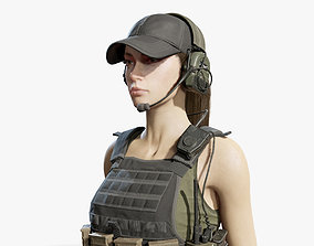 Army Girl 3D model rigged girl
