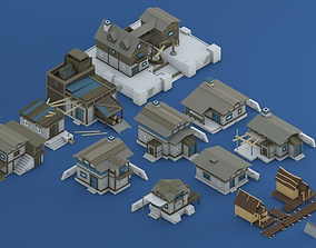 3D asset low-poly Low Poly Pirate Houses