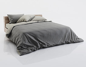 Dark and grey bed linen 3D
