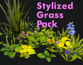 3D asset realtime Stylized Grass Pack