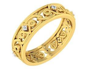 Golden ring with diamonds 3D print model 44