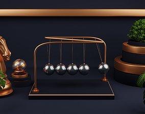 Newton Cradle - Pendulum 3D model animated