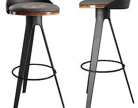 3D Bar stool hoker falco bar chair black interior