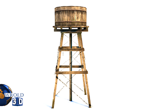 low-poly Wooden Water Tower Lowpoly 3D Model