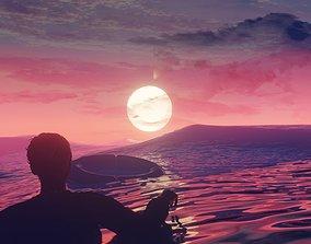 3D model epic animated sunset scene blender project