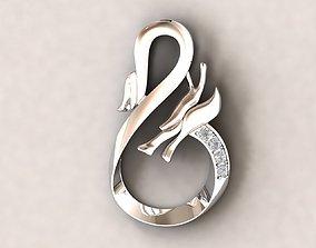 3D printable model Simple dragon pendant with diamond