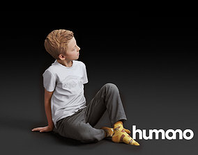 3D humanovol05 Humano Boy Sitting and looking 0507