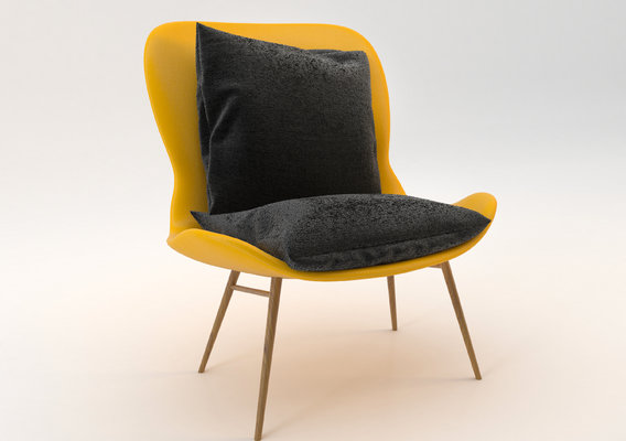 Multi-colored chair with separate cushion