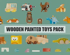 3D model Wooden painted toys pack