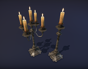 Old table candle - PBR Game Ready model VR 3D asset