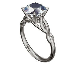 3D printable model one stone engagement ring