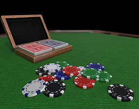 Poker set - playing cards box and Poker chips 3D asset