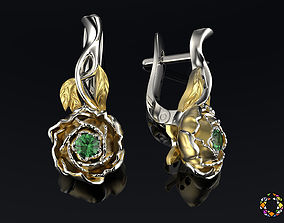 Peony fashion earrings 0202 3D print model
