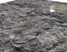 Rocky terrain with puddles and gravel PBR mountain 3D