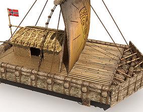 3D asset The Kon-Tiki Raft