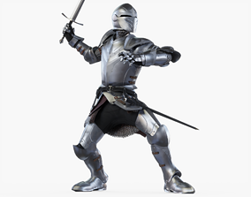 3D model Knight Attack Posed