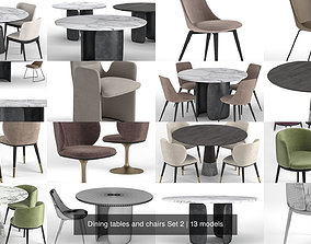 3D Dining tables and chairs Set 2