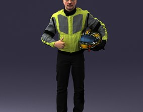 Moto racer in pose 0013 3D Print Ready helmet