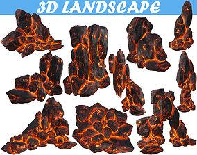 Low poly Realistic Lava Block Modular Pack environment 3D