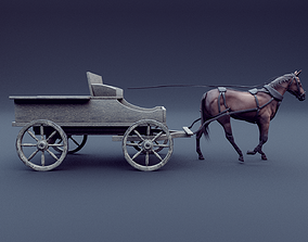 horse and wagon animated 3D model