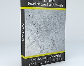 street Milan Road Network and Streets 3D