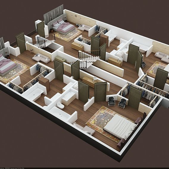 3D FLOOR PLAN OF APPARTMENT BUILDING