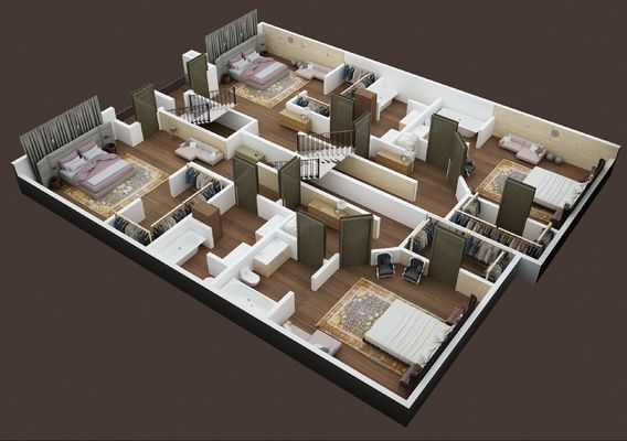 3D FLOOR PLAN OF APPARTMENT BUILDING