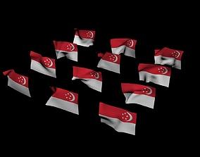 Singapore National Flag 3D model